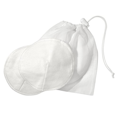 Medela Washable Nursing Pads, 100% Cotton Reusable Breast Pads, 4 Pack, Contoured Breastfeeding Pads, Laundry Bag for Easy Washing
