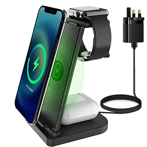 LC.imeeke 3 in 1 Wireless Charger, Fast QI Wireless Charging Station Stand...