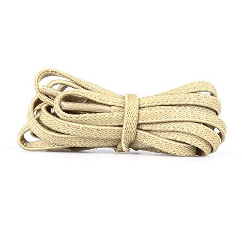 (GGT Tiger) ゴム素材靴ひも / 外は布材質、中はゴム材質で伸びる靴ひも/ 靴の脱ぎ履きが便利! / シューレース / 伸びる靴紐 / 平ひもタイプ Flat フラットタイプ (アイボリー、6mm, 平ひも120cm)