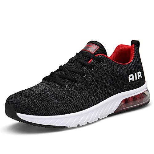 ZYLDK Unisex Laufschuhe Sportschuhe Outdoor Running leicht Turnschuhe mit Luftpolster Sneakers Atmungsaktive für Damen Herren, Grau Rot, 45 EU