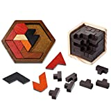 Wooden Brain Teaser Puzzle Set Includes 1 Piece Wooden Cube Puzzle Game 3D Brain Teaser Puzzle Cube and 1 Piece Teasers Hexagon Tangram Jigsaw Puzzle Intellectual Game for Teens and Adults