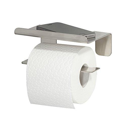 Tiger Colar Toilettenpapierhalter mit Ablage zum Kleben, Edelstahl gebürstet, mit integrierter Klebefolie zur Montage ohne bohren