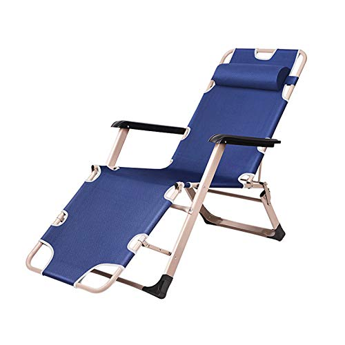 GQFGYYL-QD Folding Garden Sun Lounger Chair, The Front Feet has 3 Positions for Adjustment with Head Pillow Reclining Chairs, for Garden Outdoor Beach Pool Camping Patio