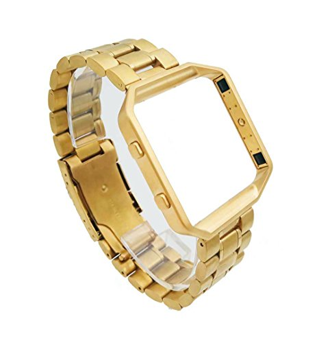 Voor Fitbit Blaze Smart Watch, Luxe Effen RVS Armband Goud Band Horloge Band + Goud Frame