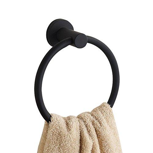 CASEWIND Amerikanisch Handtuchring Scharz Handtuchhalter, Rund Boden für Dusche Küche aus hochwertig Edelstahl Einfach und Cool Oberfläche Wandmontieren