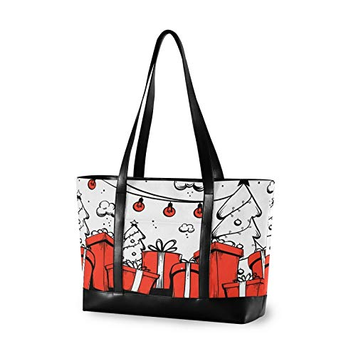 Christmas Present Hand Drawn 14 15 15.4 15.6 inch Laptop Tote Bag for Women Large Lightweight and waterproof Computer Handbags Laptop Shoulder Messenger Bag