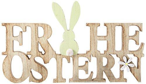 HEITMANN DECO - Holz Schriftzug Frohe Ostern mit Hase - Dekorationsartikel - Tischdeko und Raumsschmuck für Osterzeit