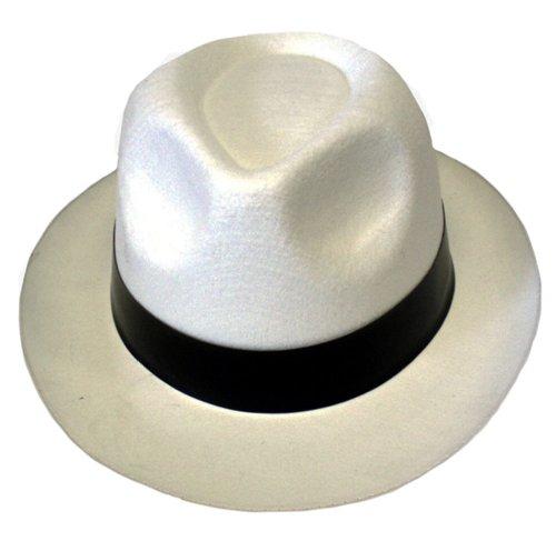 Chapeaux de Gangster Al Capone Trilby Mob Blanc MICHAEL JACKSON Struts FANCY DRESS - Blanc - Taille unique