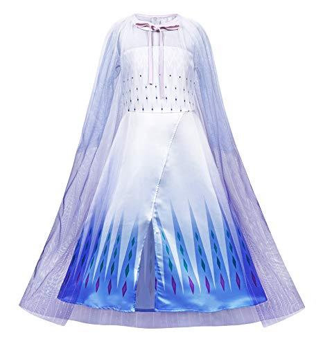Jurebecia Disfraz de Princesa Capa Disfraces Vestido para Niña Carnaval Cosplay Navidad Fiesta de Cumpleaños Azul 5-6 Años