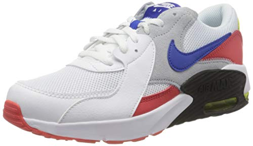 Nike Air Max Excee (GS) Sneaker, White/Hyper Blue-Bright Cactus-Track Red, 40 EU