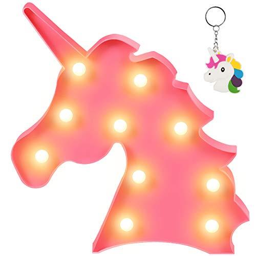 Lámpara de mesa con forma de unicornio 3D Aizesi, estilo marquesina, funciona con pilas, para decorar el hogar multicolor Rainbow Unicorn-buy Aizesi