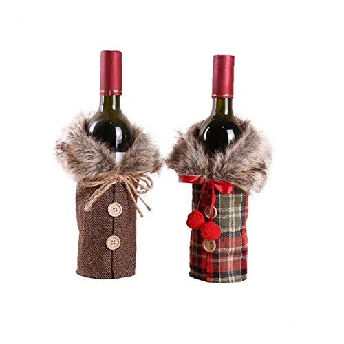 AMOYER 2pcs De Noël Bouteille De Vin Sacs Organizer Mini Noël Bonhomme De Neige Cerf Motif Bouteille De Vin Couverture Bière De Noël Manteau Lattice pour La Maison Dinner Party