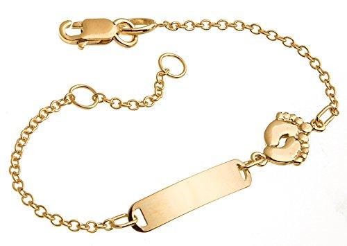 Bracciale per bambini/neonati, oro 375, incl.incisione, lunghezza a scelta 12-14-16 cm. e Oro giallo, cod. 026C 185000