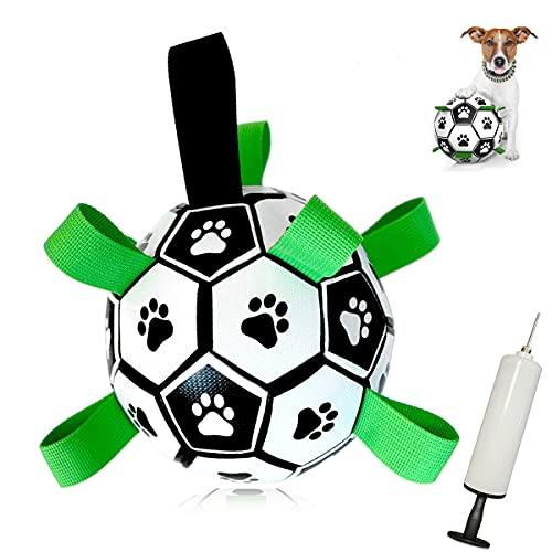 MOMSIV Hundespielzeug Ball ,Hundeball Kauspielzeug Robuster Fußballball mit Greiflaschen, interaktives Hundespielzeug mit Ballpumpe,langlebiges Hundespielzeug für kleine und mittelgroße Hunde