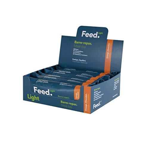 Barra de comida de Naranja. Chocolate. - Feed. Light - Paquete de 12 x 70g - Ligero en azúcares - 250kcal por comida.