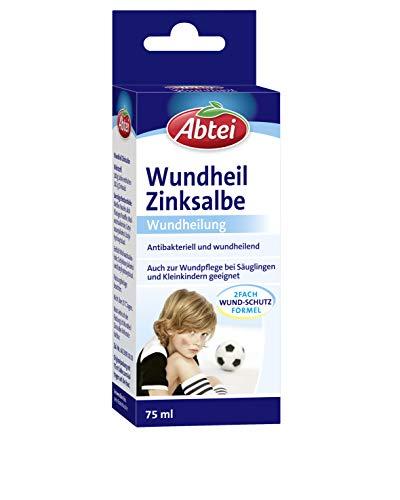 Abtei Wundheil Zinksalbe - Salbe mit Zink zur Wundheilung - antibakteriell und entzündungshemmend - auch für Säuglinge und Kleinkinder geeignet - 1 x 75 ml