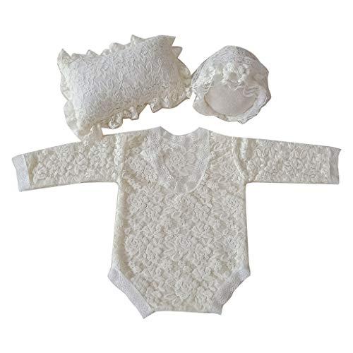 Yunso Pijama de encaje para bebé con gorro, cojín y accesorios para fotografía del Infants Newborn