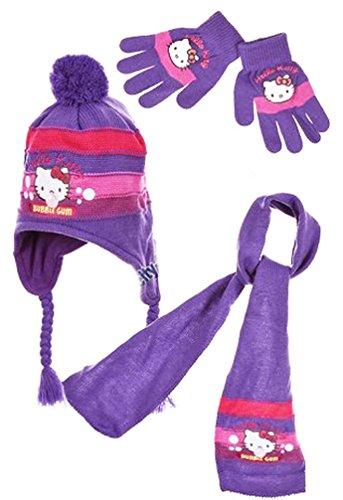 Hello kitty Echarpe, bonnet péruvien et gants enfant fille Rose et Violet de 3 à 8ans - Violet, 52 cm (3-6 ans)