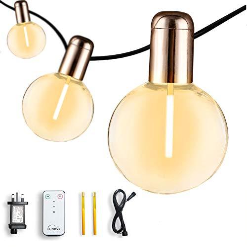 Indoor String Lights 7.3m/24ft G50 20 Bulbs, Plug in Powered, Outdoor Globe String Lights for Backyard Garden Christmas Wedding Party Lights L.A.NOVA(Warm White)
