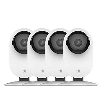 YI 4pc Security Home Camera 1080p WiFi Smart Wireless Indoor Nanny IP Cam with Night Vision 2-Way Audio Motion Detection Phone App Pet Cat Dog Cam - Works with Alexa and Google