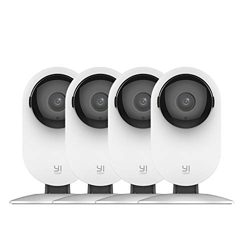 YI by kami 4pc Security Home Camera, 1080p WiFi Smart IP Indoor Nanny Cam with Night Vision, 2-Way Audio, Motion Detection, Phone App, Pet Cat Dog Cam - Works with Alexa and Google. Buy it now for 89.00