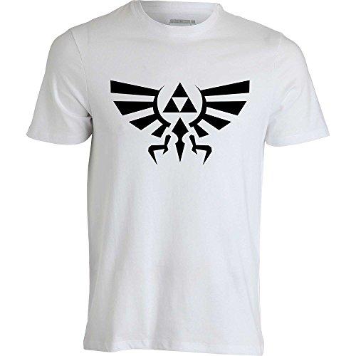 Legend of Zelda Link Hyrule Crest Triforce T Shirt Homme Blanc (L)