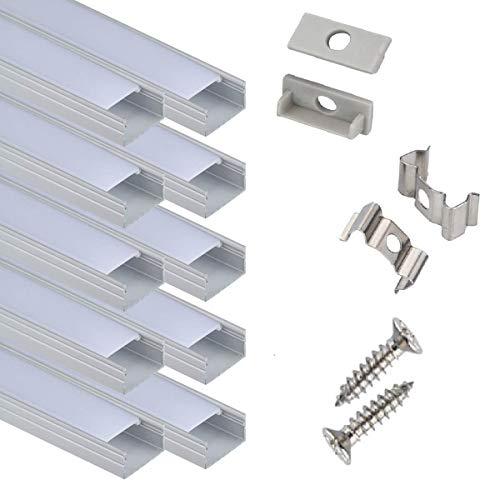 HPXLED HP05-U10-Profil-LED, 10x100 cm für 16 mm breites Lichtstreifen, U-förmiges LED-Bandkanalsystem mit Abdeckung Endkappen und Montageclips, LED-Aluminiumprofil für LED-Stangenlicht, Packung von 10