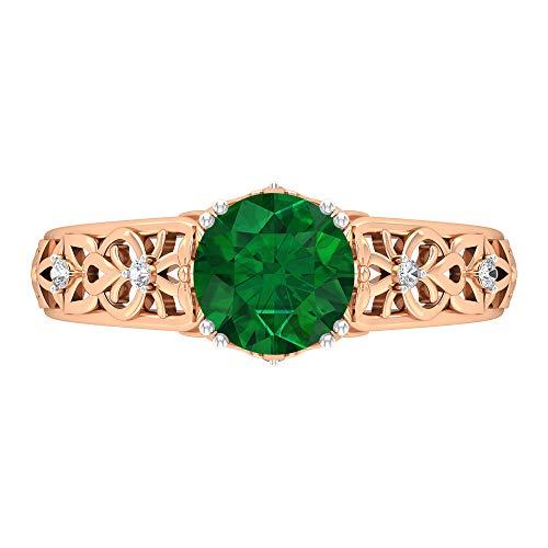 Anillo de 7 mm de esmeralda solitario, D-VSSI Moissanite, anillo de compromiso de corte redondo, anillo de oro vintage para mujer, anillo de filigrana, 14K Oro rosa, Size:EU 52
