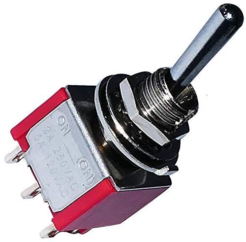 AERZETIX: Interruptor conmutador de palanca DPDT ON-(ON) 2A/250V 5A/28V, 1 posicion