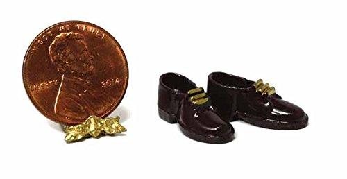 Dollhouse Miniature Pair of Men's Dark Brown Dress Shoes w/Gold Accent