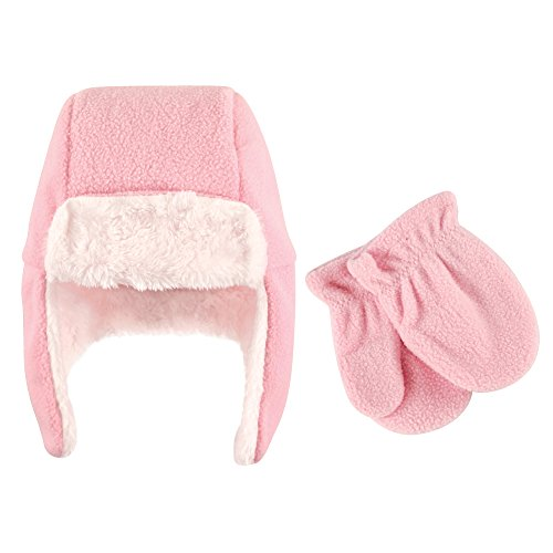 Hudson Baby Unisex Baby Fleece Trapper Hat and Mitten Set, Light Pink Toddler, 18-24 Months