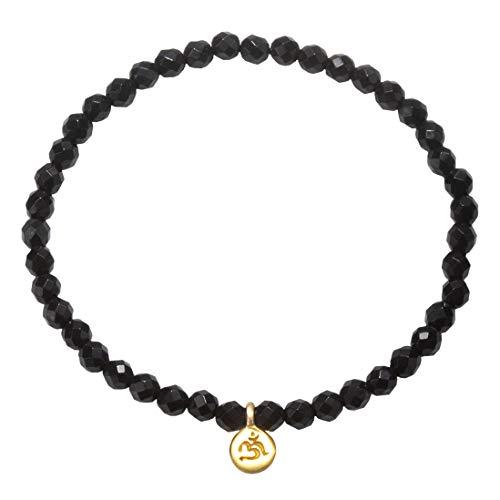 Satya Jewelry Armband Damen Schwarz - Mini OM Onyx Bracelet mit Charm Anhänger Rund - Silber 925 Vergoldet - BG84A-28B