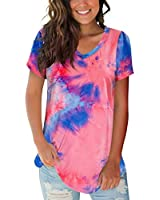 FOWSMON Women's Casual Tops V Neck Short Sleeve Summer Tie Dye Shirts