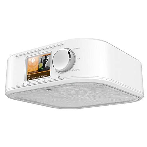 Hama DAB Radio DIR355SBT Internet Radio DAB+, Bluetooth & Spotify (WLAN Küchenradio mit FM, AUX, App Bedienung, Radiowecker und Display, Unterbauradio mit Montageplatte ohne Bohren) weiß