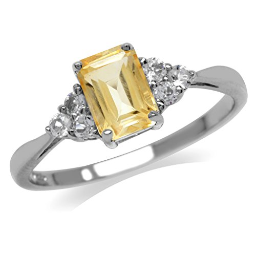 Silvershake Natural Citrine and White Cubic Zirconia 925 Sterling Silver Engagement Ring Size 6