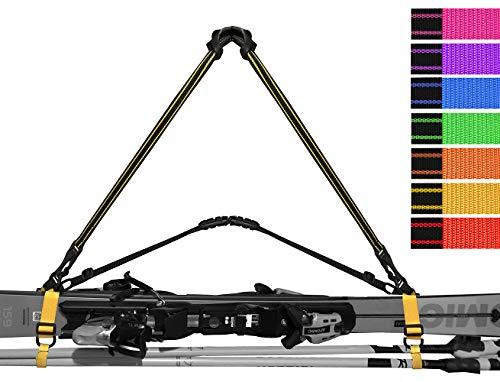 Skitragegurt Ski Handhold - universaler Griff zum Skitragen und Skistöcke in der Hand oder auf dem Arm - Gelb, Blau und Rot (rot)