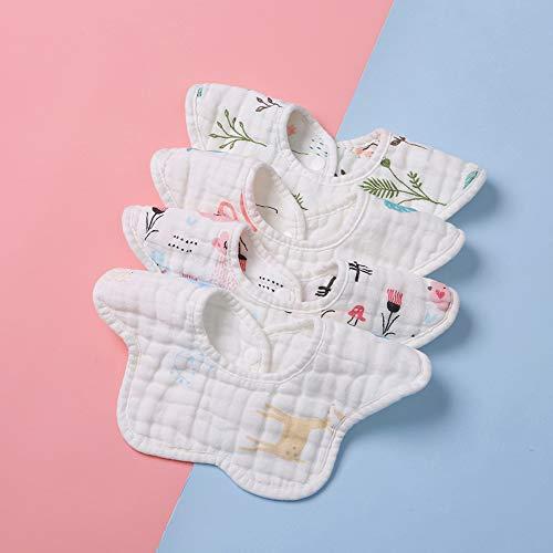 SSJY Baberos Bebe,Toalla de Saliva de bebé Babero Giratorio Toalla de Saliva de bebé Babero Giratorio Comer Babero Broche de Doble Fila Adecuado para niños/niñas de 4 Meses a 2 años.