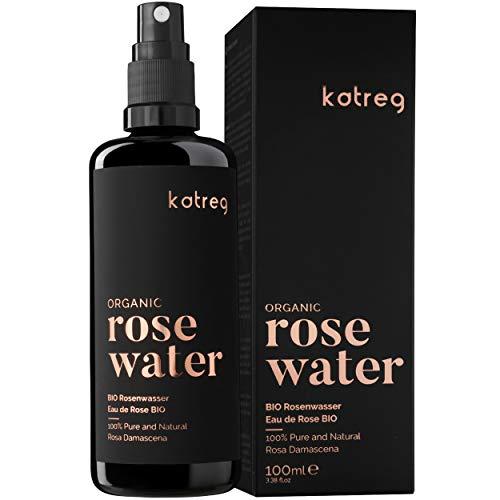 Katreg Rosenwasser Bio Spray reines & natürliches Rose Water für Haut&Haar Feuchtigkeitsspendend kühlend reinigend tonisierend, Doppelt aus bulgarischen Damaszener Rosenblüten destilliert 100ml
