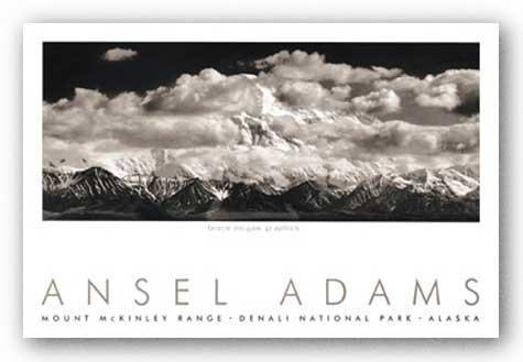 (24x36) Ansel Adams Mt. McKinley Range, Clouds, Denali National Park, Alaska, 1948 Art Print Poster by The Picture Peddler Inc.