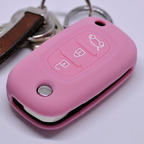 Soft Case Schutz Hülle Auto Schlüssel für Renault Twingo Clio Smart Forfour Klappschlüssel 3 Tasten Remote/Farbe Pink