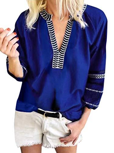 ORANDESIGNE Mujer Camisas Manga 3/4 Boho Blusa Bordado T-Shirt Tops Moda Casual Cuello En V Vintage Viento Nacional Camiseta Tops B Azul ES 50