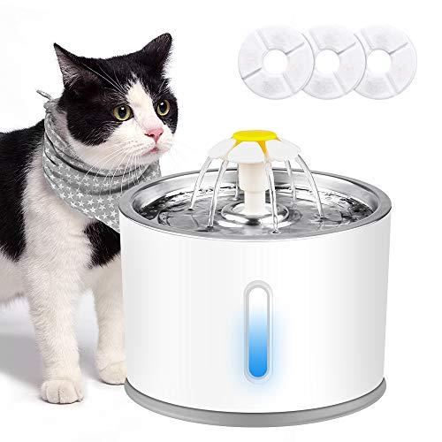 solawill Katzen Trinkbrunnen, Trinkbrunnen für Haustiere mit LED-Licht Leise Katzenbrunnen mit 3 Aktivkohlefilter rutschfest Automatische Haustier Wasserspender für Katzen und Hunde - 2,4 L