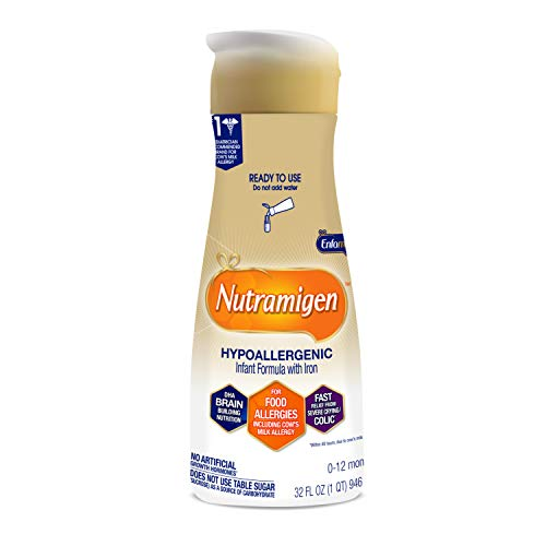 Enfamil Nutramigen Infant Formula, Hypoallergenic and Lactose Free Formula with Enflora LGG, Fast Relief from Severe Crying and Colic, DHA for Brain Support, Ready to Use Bottle, 32 Fl Oz