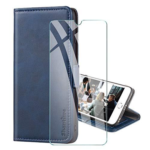 PZEMIN Custodia per Motorola Moto E7 Plus/Moto G9 Play + 1x Pellicola Protettiva Film Vetro Temperato - Portafoglio Fashion Flip Case Protettiva Guscio in Pelle TPU Cover Magnetic Closure (Blu)