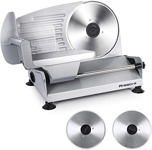 Affettatrice Elettrica da casa 200W, 2 Lame in acciaio inossidabile, facile da pulire, affettatrice piccola con spessore regolabile 0-15 mm, Anescra