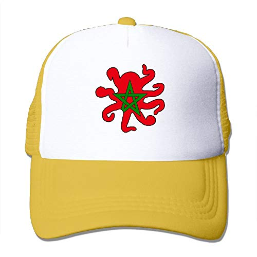 xinfub Sombreros de Malla Unisex Bandera de Marruecos en Forma de Pulpo Ajustable Snapback Peak Cap Net Red 12455