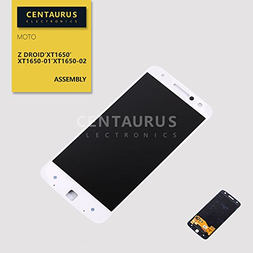 CENTAURUS Replacement for Moto Z Droid XT1650 LCD Display Touch Screen Digitizer Assembly Part Compatible with Motorola Moto Z Droid XT1650 XT1650-01 XT1650-03 5.5 inch(White)