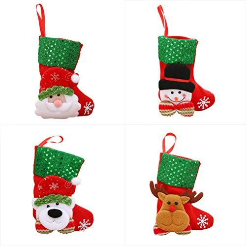 YeahiBaby 12pcs Bas de Noël avec Elf Bonhomme de Neige père Noël Rennes Ours modèles Motifs Arbre de Noël Suspendus