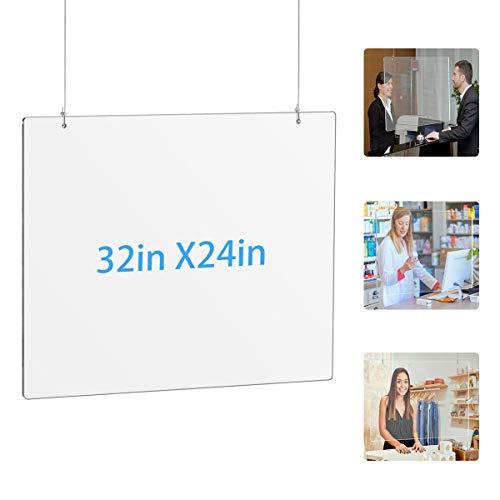 AITEE - Protector de estornudos para colgar con dos cuerdas, pantalla protectora transparente para tienda de uñas, oficina, mostrador, recepción, salida, etc. (32 × 24 pulgadas)