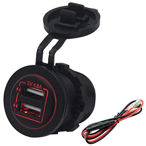 Cargador USB, material del ABS del puerto USB del coche del cargador de la energía USB para el barco ATV del coche 12V / 24V(red, Pisa Leaning Tower Type)